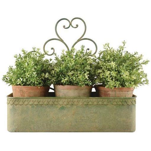 Antikolt fémből készült virágtartó láda, mely alkalmas 3 cserepes növény tárolására is.