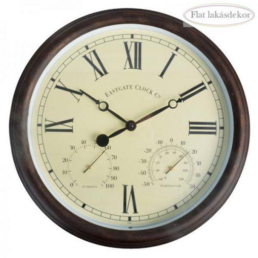 Óra hőmérővel, és páratartalom mérővel 38cm, római számokkal, kert, lakásdekoráció, ajándék