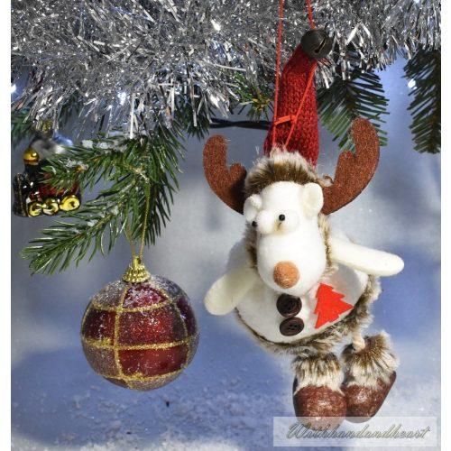 Függeszthető rénszarvas, textil karácsonyi dekoráció, 17cm