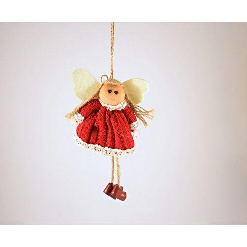 Függeszthető angyal piros kötött ruciban, textil karácsonyi dekoráció