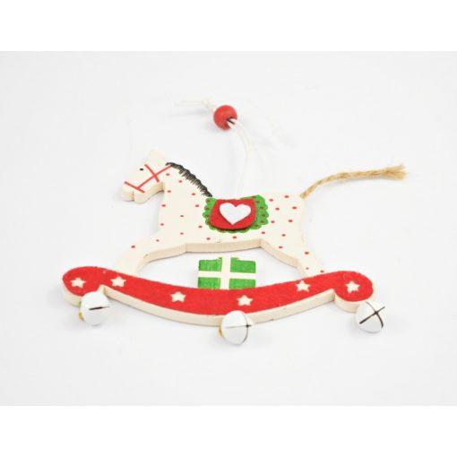Karácsonyi dekoráció, akasztható hintaló, fehér, piros, 9x11cm