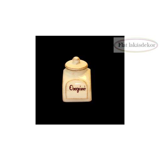 Kis fűszertartó antikolt,kerámia,kézzel festett, konyhai tároló, vanilia
