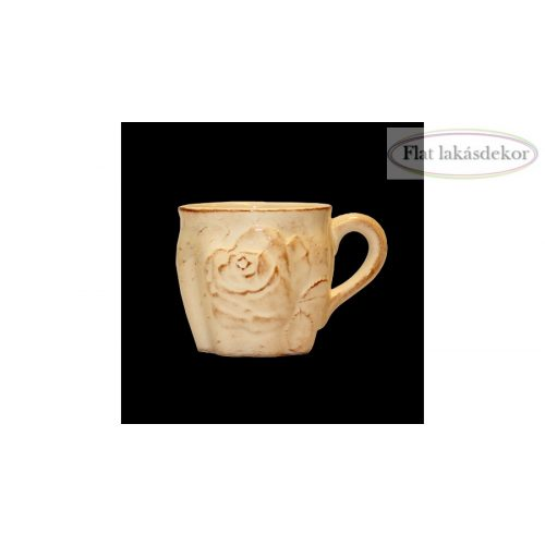 Antik rózsás kerámia bögre,kézzel festett, étkészlet, lakásdekoráció, ajándék