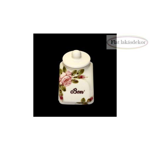 Rózsás fűszertartó kicsi,kerámia, kézzel festett kerámia tároló, konyha dekoráció, ajándék