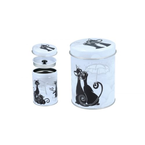 Fémdoboz 6,5x9cm, fekete macskák párban