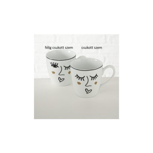 1014688 Porcelán bögre, arcos,480ml, sziv alakú száj, fekete-fehér, lakberendezés, ajándék
