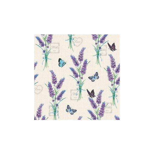 AMB.13314225 Lavender With Love Cream papírszalvéta 33x33cm,20db-os, levendula mintás szalvéta, lakásdekoráció, ajándék