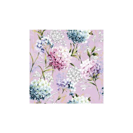 Papírszalvéta 33x33cm,20db-os, lila hortenziás szalvéta, lakásdekoráció, ajándék