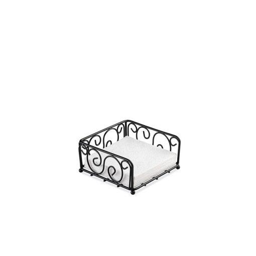 AMB.19402415 Fém szalvétatartó fekvő coctail, fekete hullámos mintával, Ambiente, lakásdekoráció, ajándék