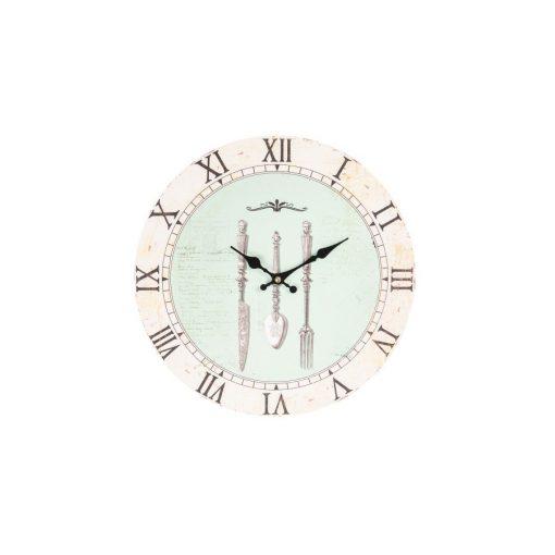 CLEEF.6KL0569 Fa falióra 34cm, antik étkészletes, Clayer &Eef, kék, óra, lakásdekoráció, ajándék