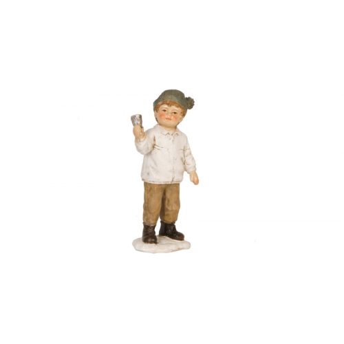 Műanyag dekorfigura 12cm,kisfiú csengővel, nosztalgikus karácsonyi figura