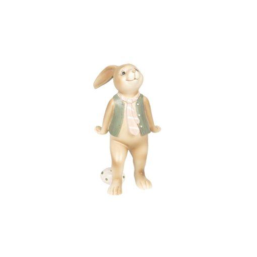 CLEEF.6PR2628 Húsvéti dekorfigura műanyag 9x7x15cm, nyuszifiú csíkos nyakkendővel, lakásdekoráció, ajándék
