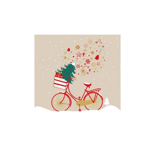 Xmas Bike taupe papírszalvéta 33x33cm,20db-os