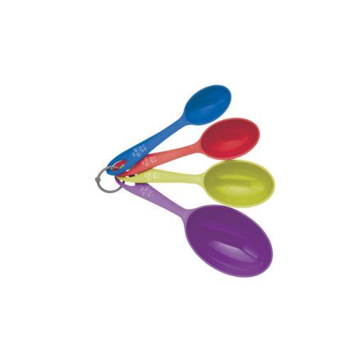 Műanyag mérőkanálszett 4db-os,1/8 csésze-1csésze,színes,Colourworks, Sütés, lakásdekoráció, ajándék