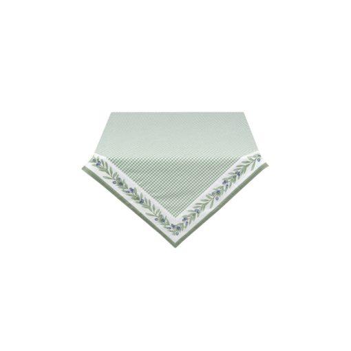 OLG01 Terítő 100x100cm,pamut,Olive Garden, zöld-fehér kockás textil abrosz, lakásdekoráció, ajándék