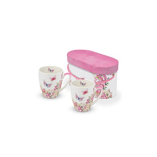 P603587 Porcelánbögre 0,35l dobozban,2db-os ,Happy Birthday Wishes, rózsaszín lepkés porcelán, lakberendezés, ajándék